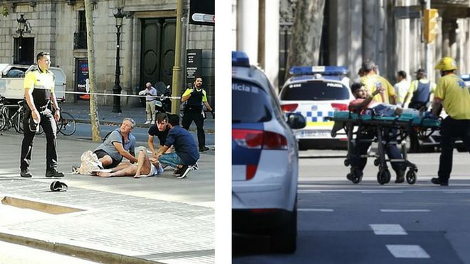 Imatges de testimonis de l'atropellament a la Rambla de Barcelona