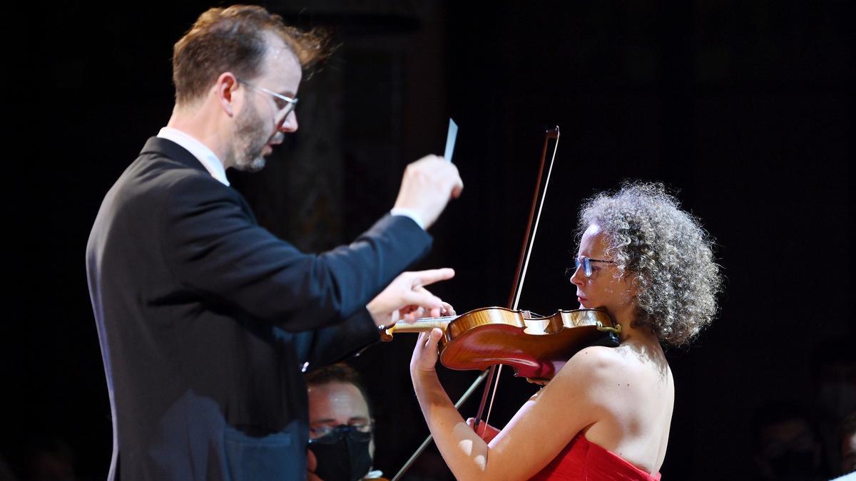 Un momento del concierto del año de despedida del Año Joan Manén , en el Palau de la Música, el jueves.