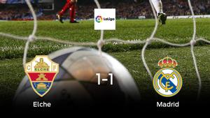 El Elche y el Real Madrid empatan a uno en el Martínez Valero