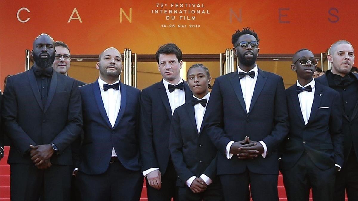 Parte del equipo de 'Los miserables', en Cannes, este miércoles.