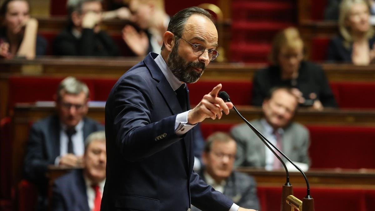 El primer ministro, Edouard Philippe, durante una de sus intervenciones en la Asamblea Nacional, este martes.