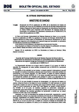 Acuerdo del Consejo Interterritorial del Sistema Nacional de Salud del 30 de septiembre de 2020, publicado en el BOE de este 1 de octubre.