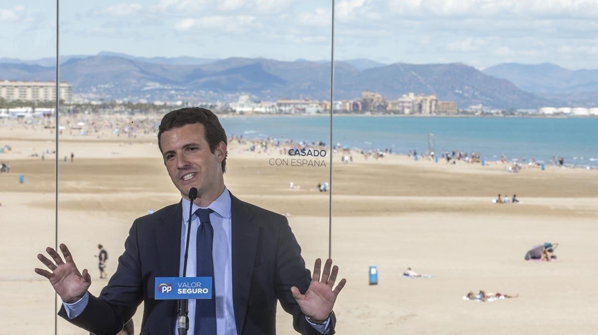 Pablo Casado, en su penúltimo mitin de la campaña, en Valencia.