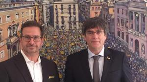 Puigdemont junto al líder del Bloque Quebequés.