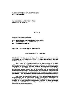 Auto que ordena el ingreso en prisión de Millet, Montull y Osàcar