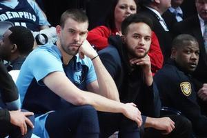 Marc Gasol, en el banquillo de los Grizzlies, en el partido frente a los Bucks de esta semana