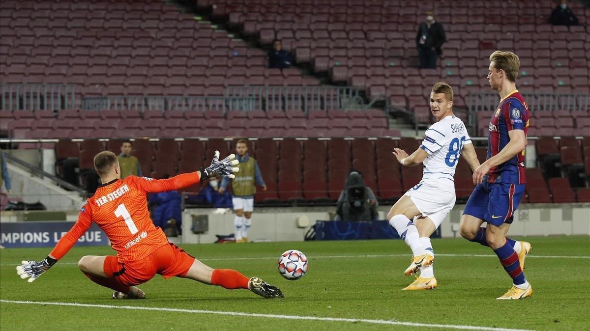 Ter Stegen evita el gol de Supriaha, del Dinamo de Kiev.