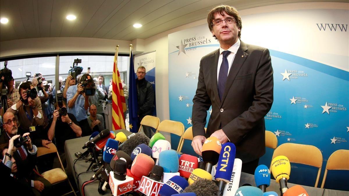 Puigdemont, este martes, antes de la rueda de prensa que ha ofrecido en Bruselas.