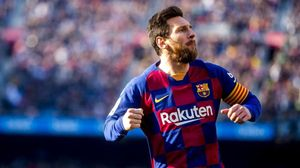 Leo Messi celebra su primer gol ante el Eibar.
