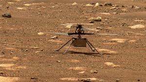 El Ingenuity, durante las pruebas del pasado jueves, sobre la superficie de Marte
