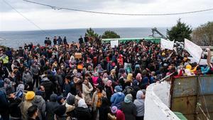 Manifestación en la isla de Lesbos, el pasado 3 de febrero, de refugiados y migrantes en protesta por las trabas en la solicitud de asilo