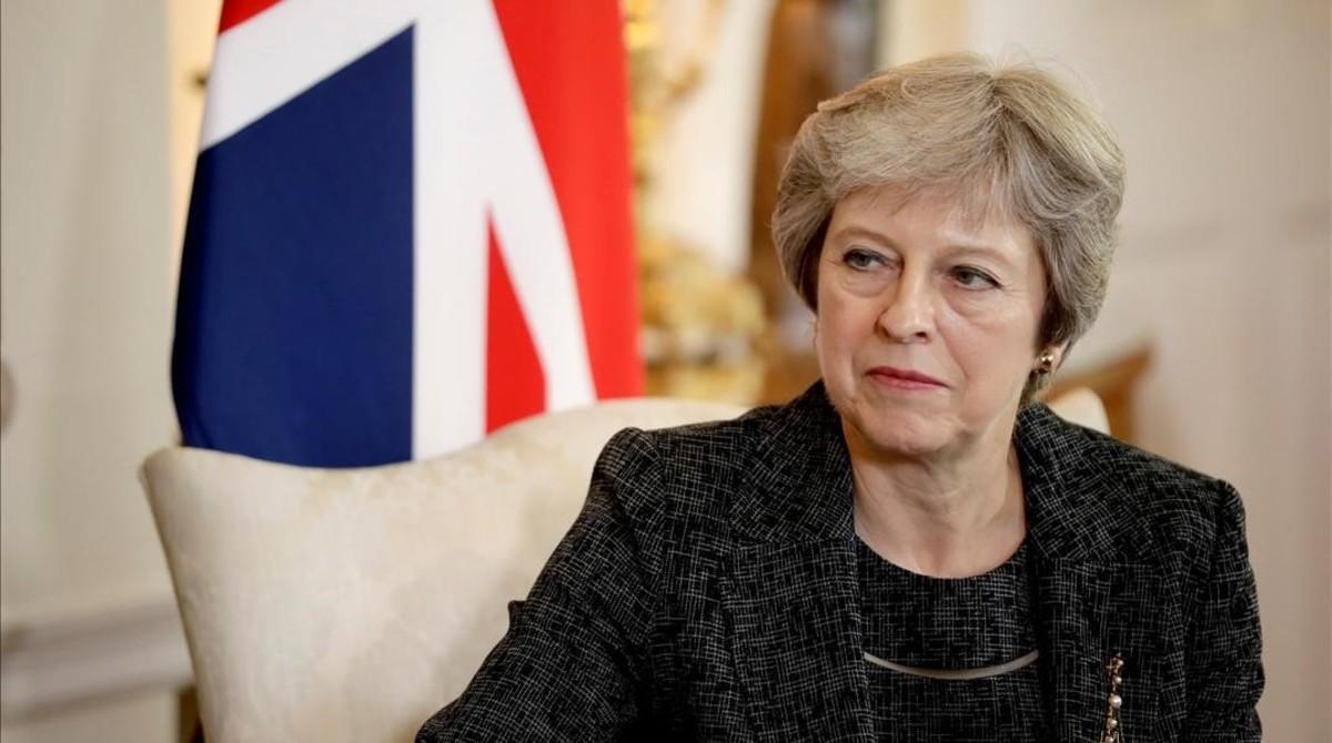 La primera ministra británica, Theresa May, en su residencia de Downing Street.