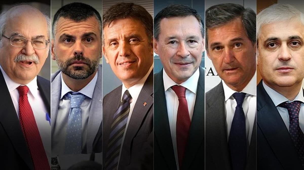 De izquierda a derecha, Mas-Colell, Vila, Recoder, Simón, Entrecanales y Gordó