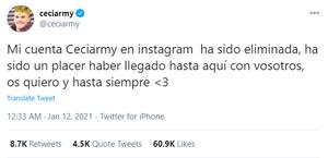 Captura de pantalla del tuit con el que el propio Ceciarmy daba la noticia