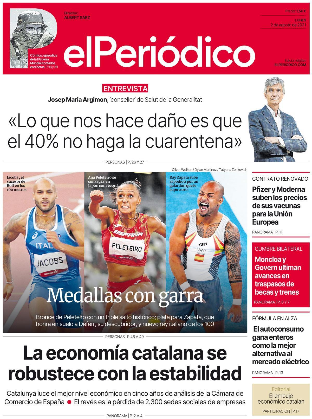 La portada d'EL PERIÓDICO del 2 d'agost del 2021