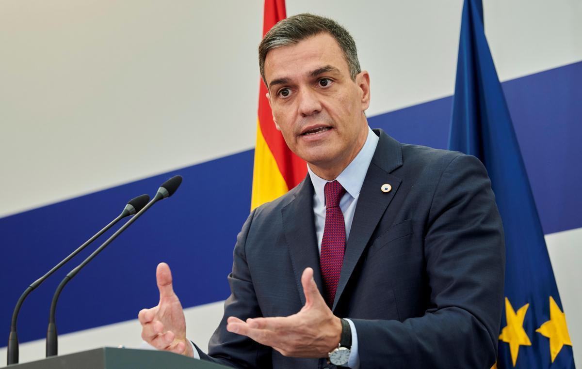 El presidente del Gobierno, Pedro Sánchez, durante su comparecencia en Bruselas al término del Consejo Europeo de este 25 de junio.