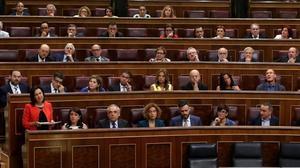 La portavoz del grupo parlamentario del PSOE, Margarita Robles, interviene en la sesión de control al Gobierno, enel Congreso de los Diputados, el pasado 21 de julio.