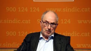 El Síndic de Greuges, Rafael Ribó, en rueda de prensa.
