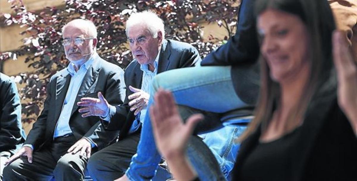 Josep Maria Terricabras y Ernest Maragall, ayer durante el acto de presentación de la candidatura de ERC.