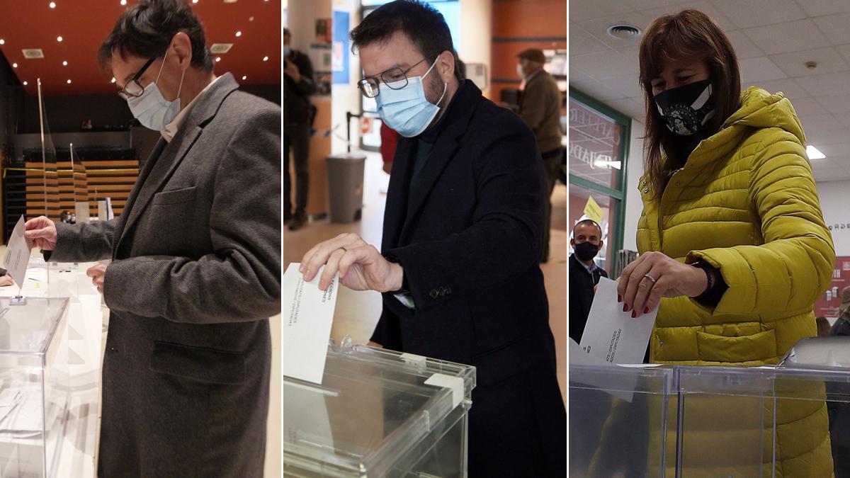 Momento de la votación de Salvador Illa, Pere Aragonès y Laura Borràs.