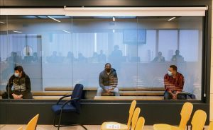 Los acusados Mohamed Houli Chemial, Driss Oukabir y Said Ben Iazza, durante el juicio en su contra que se celebra en la Audiencia Nacional.
