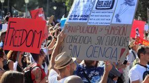 Manifestación de negacionistas en Madrid, el pasado 16 de agosto.