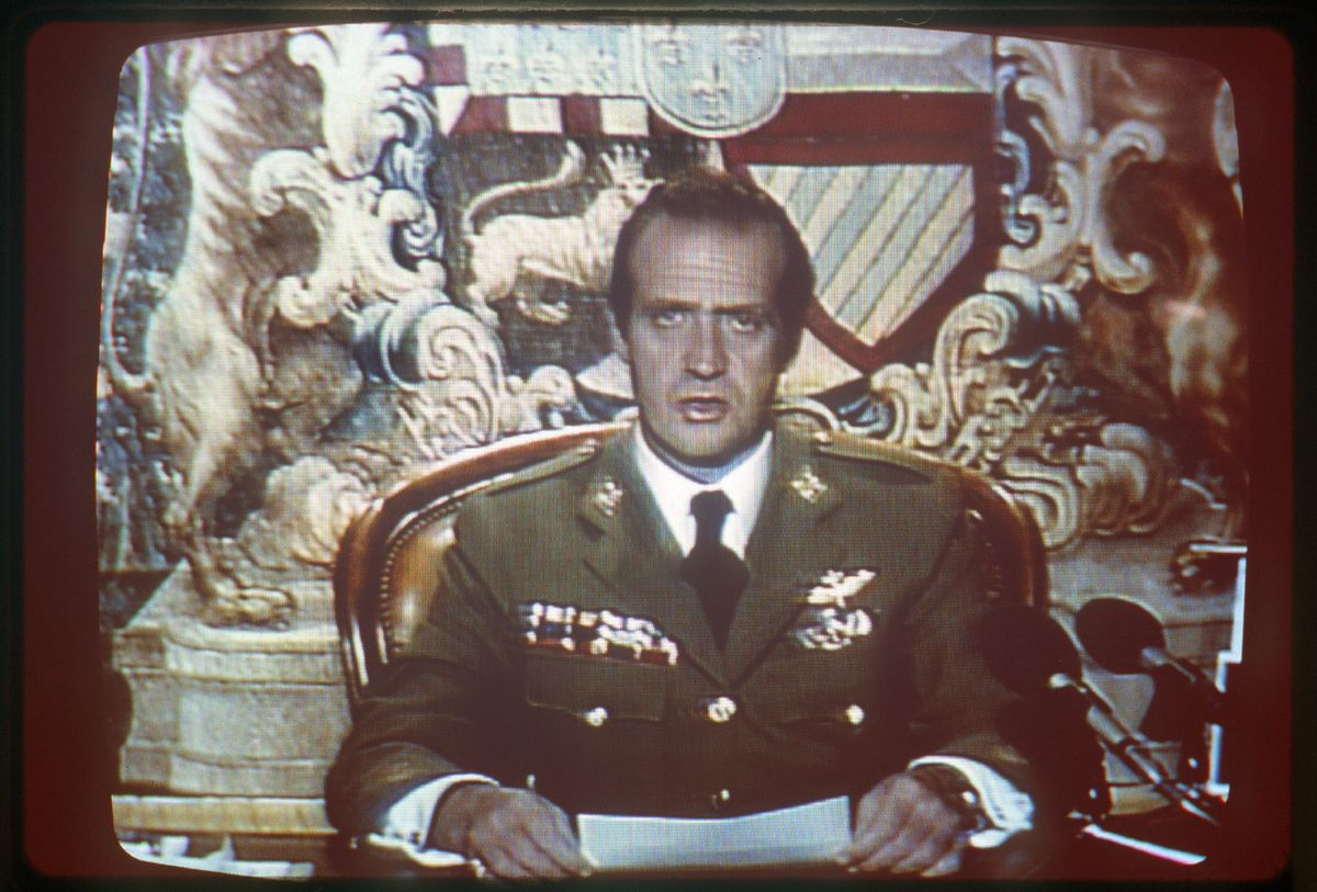 El rey Juan Carlos, durante su alocución la madrugada del 23-F