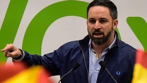 Santiago Abascal, en un mitin de Vox en San Sebastián.
