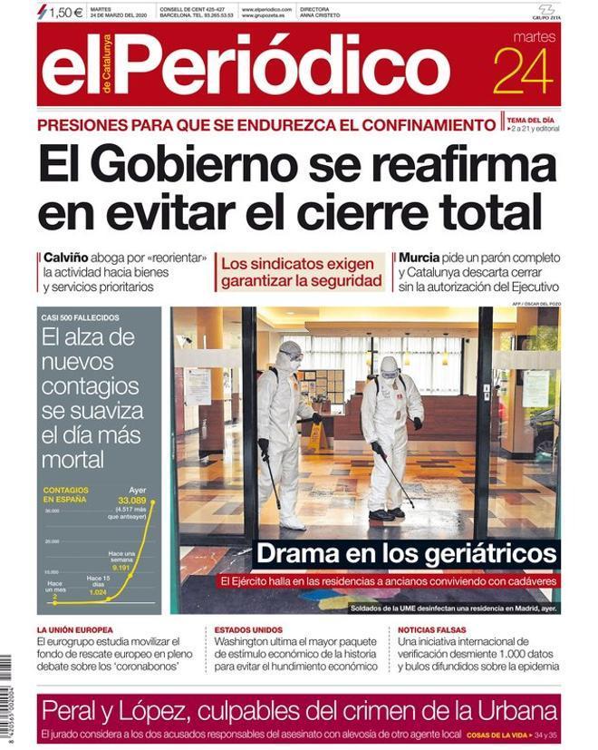 La portada de EL PERIÓDICO del 24 de marzo del 2020.