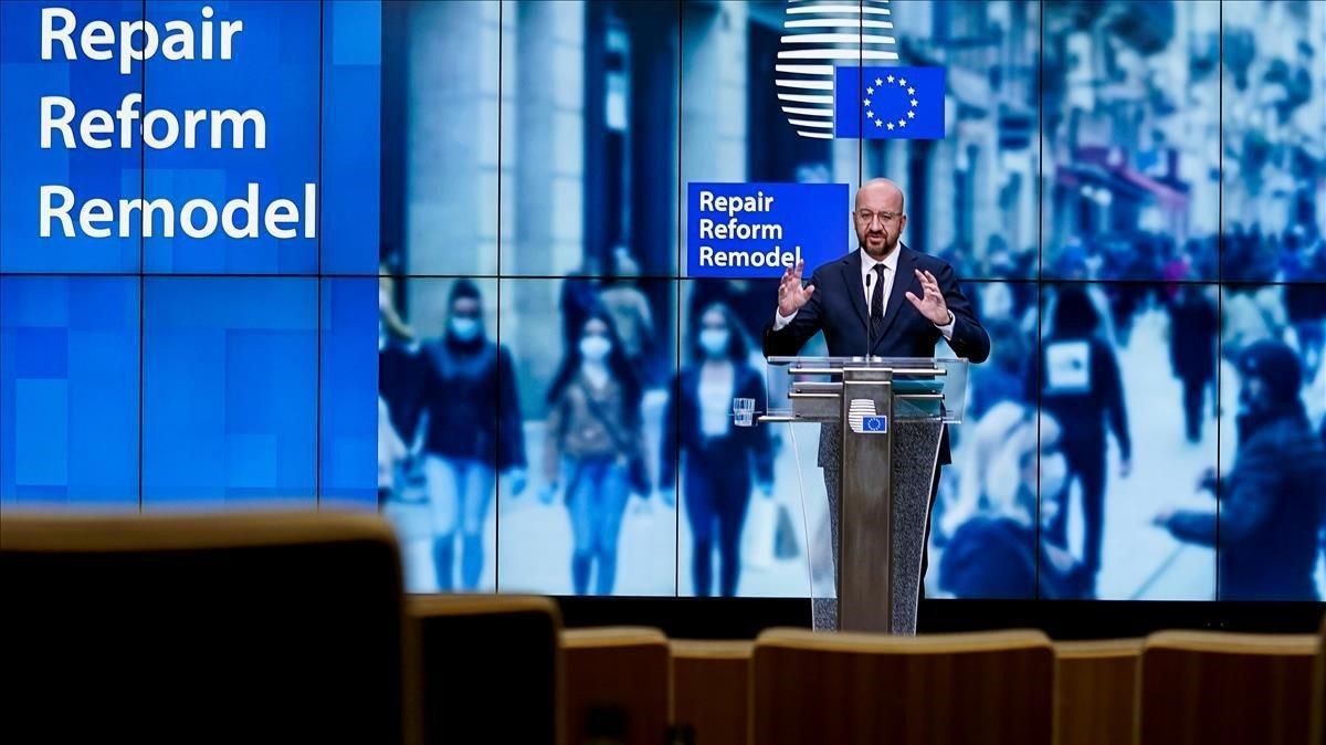El presidente del Consejo Europeo, Charles Michel, durante la rueda de prensa que ha ofrecido este viernes para presentar su propuesta de presupuesto.