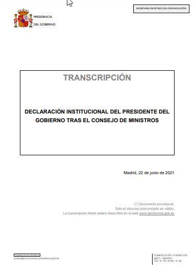 Transcripción de la declaración de Pedro Sánchez tras la concesión de los indultos, este 22 de junio de 2021.