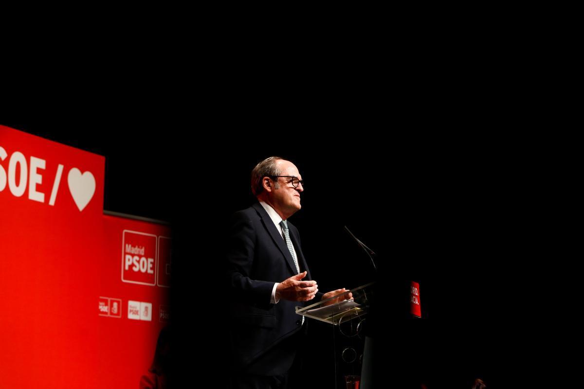 El candidato socialista del 4-M, Ángel Gabilondo, el pasado 28 de abril en un acto de campaña en Leganés.