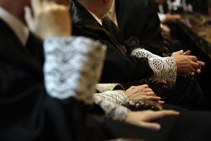 Imagen de archivo de unos jueces vestidos con togas.