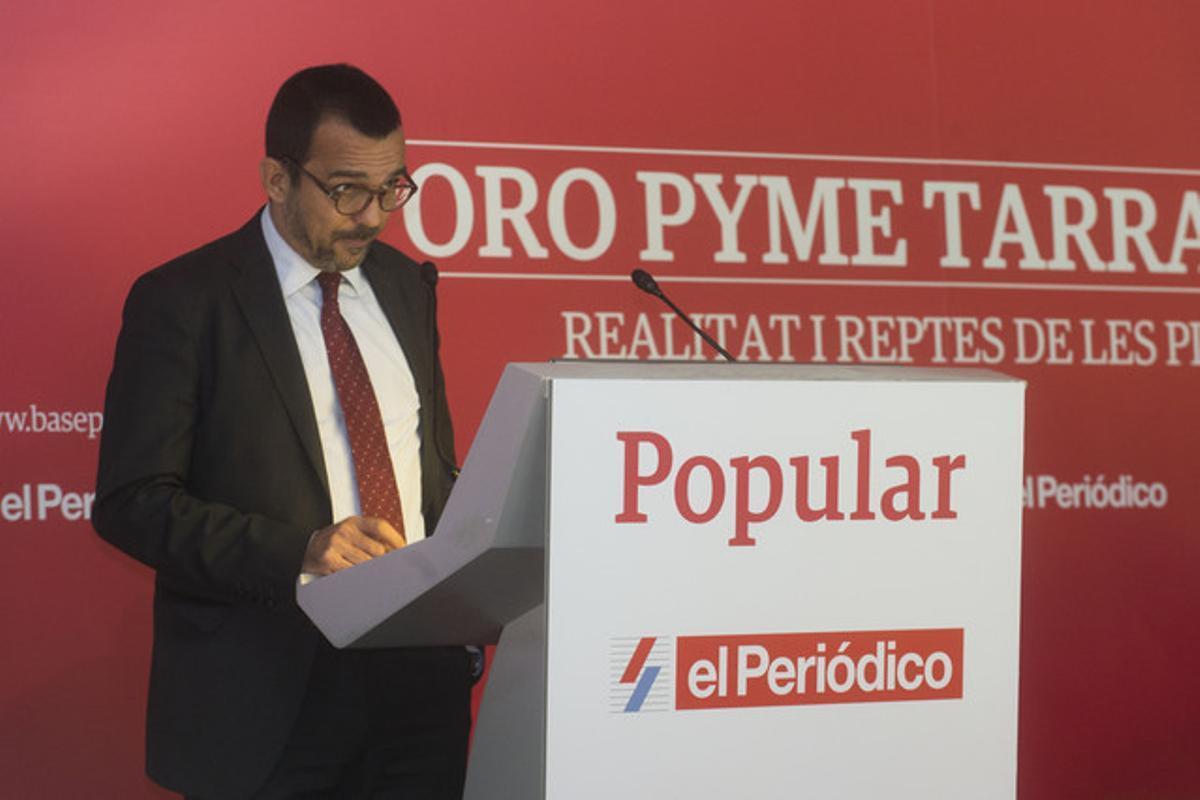 El director general de EL PERIÓDICO DE CATALUNYA, Joan Alegre, en la presentación del Foro Pyme, en La Canonja (Tarragonès).