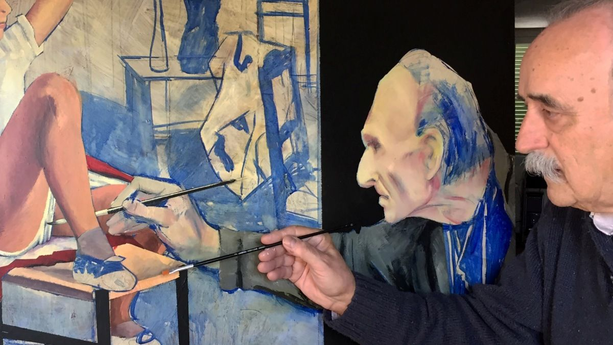 Una imagen de Joan Josep Guillén pintando uno de sus cuadros.