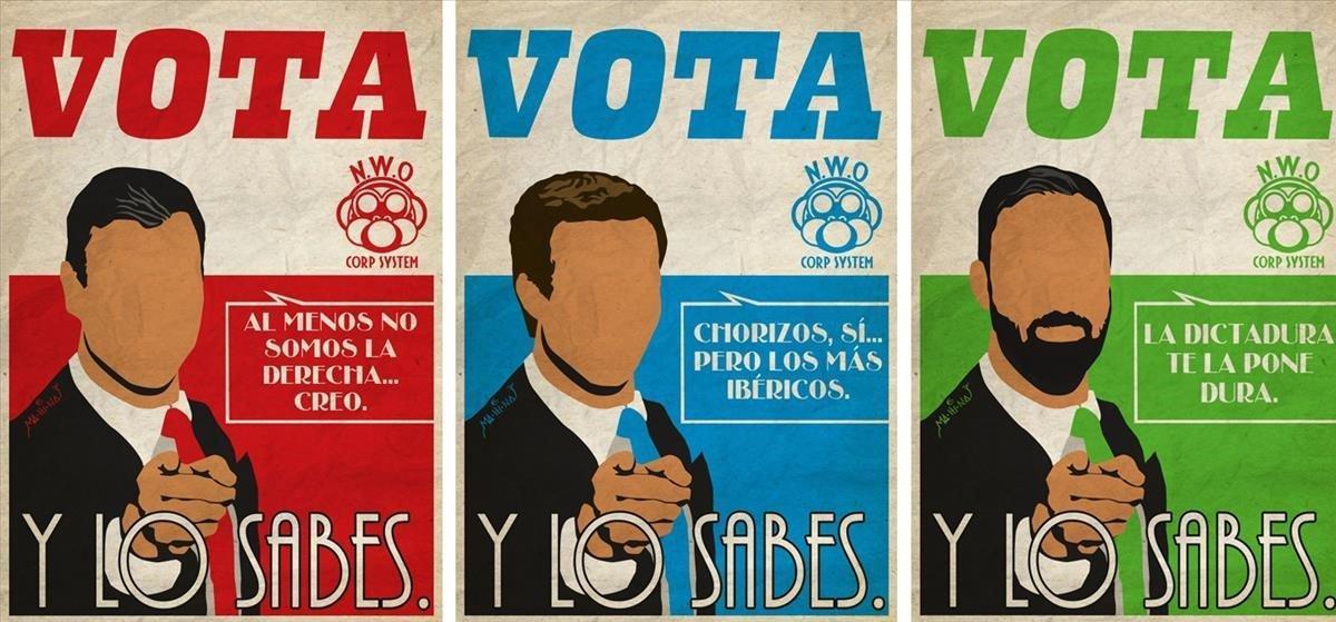 Tresde los carteles de Manuel Hinojosa, con textos sugeridos por sus seguidores.