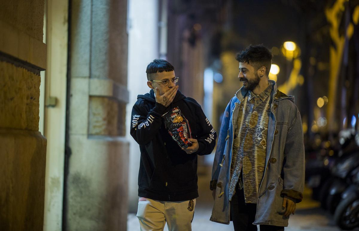 Pimp Flaco y Kinder Malo, andando por Barcelona