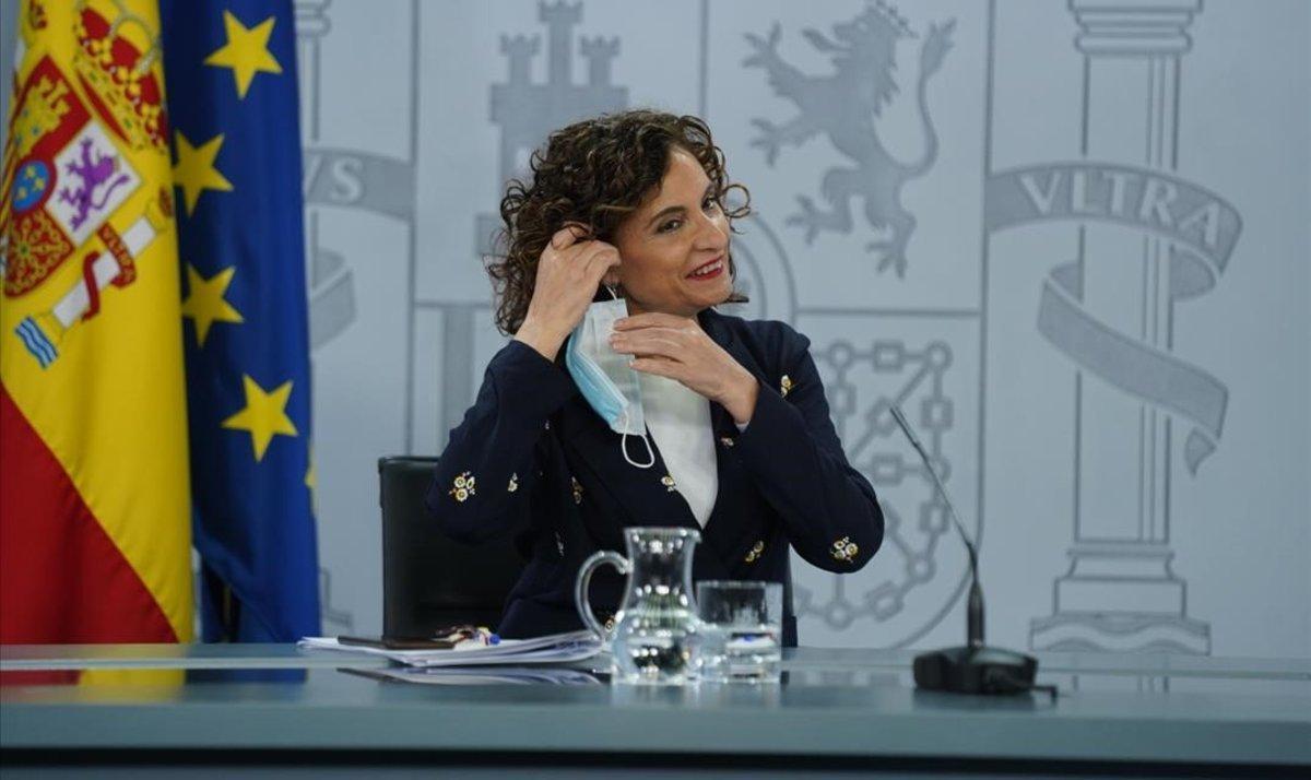 María Jesús Montero, en la rueda de prensa tras el Consejo de Ministros Extraordinario.