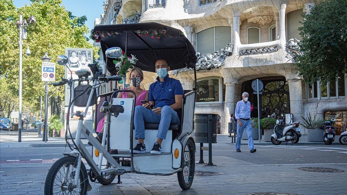 Turistas en Barcelona durante la pandemia de covid.