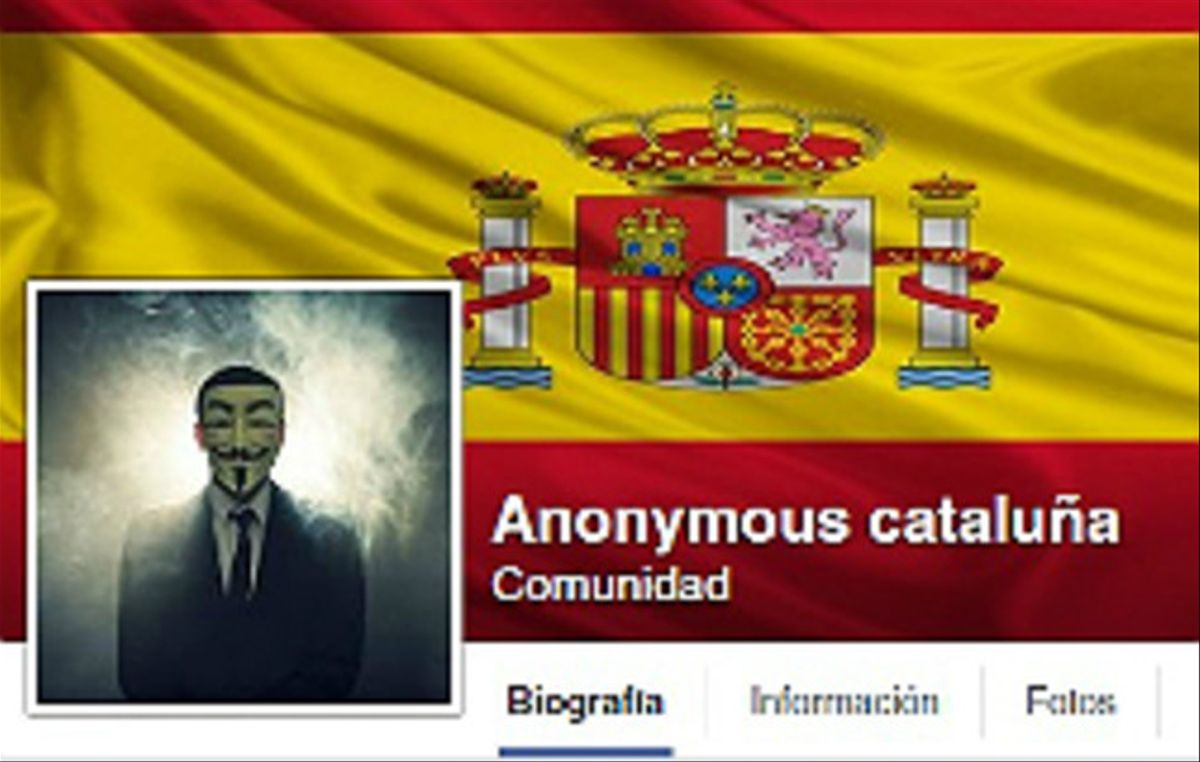 La página de Facebook de 'Anonymous Catalunya'