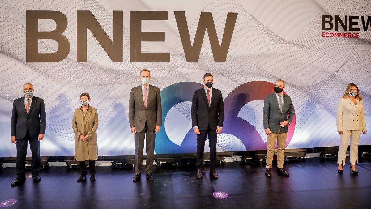El reyFelipe VI, el presidente del Gobierno,Pedro Sánchez, y el primer teniente de alcalde del Ayuntamiento de Barcelona,Jaume Collboni, presidieron la entrega de los premios a la Mejor Innovación