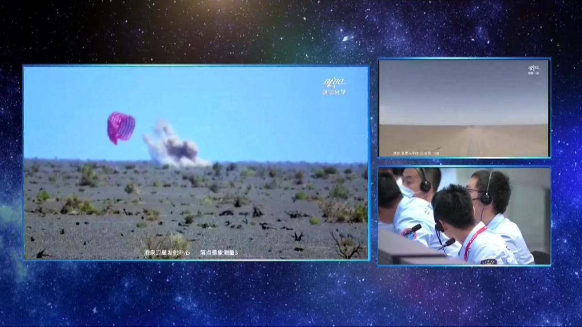 Llega con éxito a la Tierra la nave china Shenzhou-12.