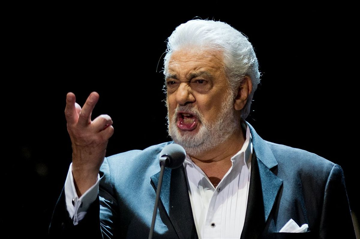 (FILES) In this file photo taken on July 25, 2015 Spanish singer Placido Domingo performs on stage during a concert at the Starlite in Marbella. - Opera great Placido Domingo denied multiple allegations of sexual harassment on August 13, 2019, insisting that he believed all interactions and relationships throughout his long career were always welcomed and consensual. (Photo by Jorge Guerrero / AFP)