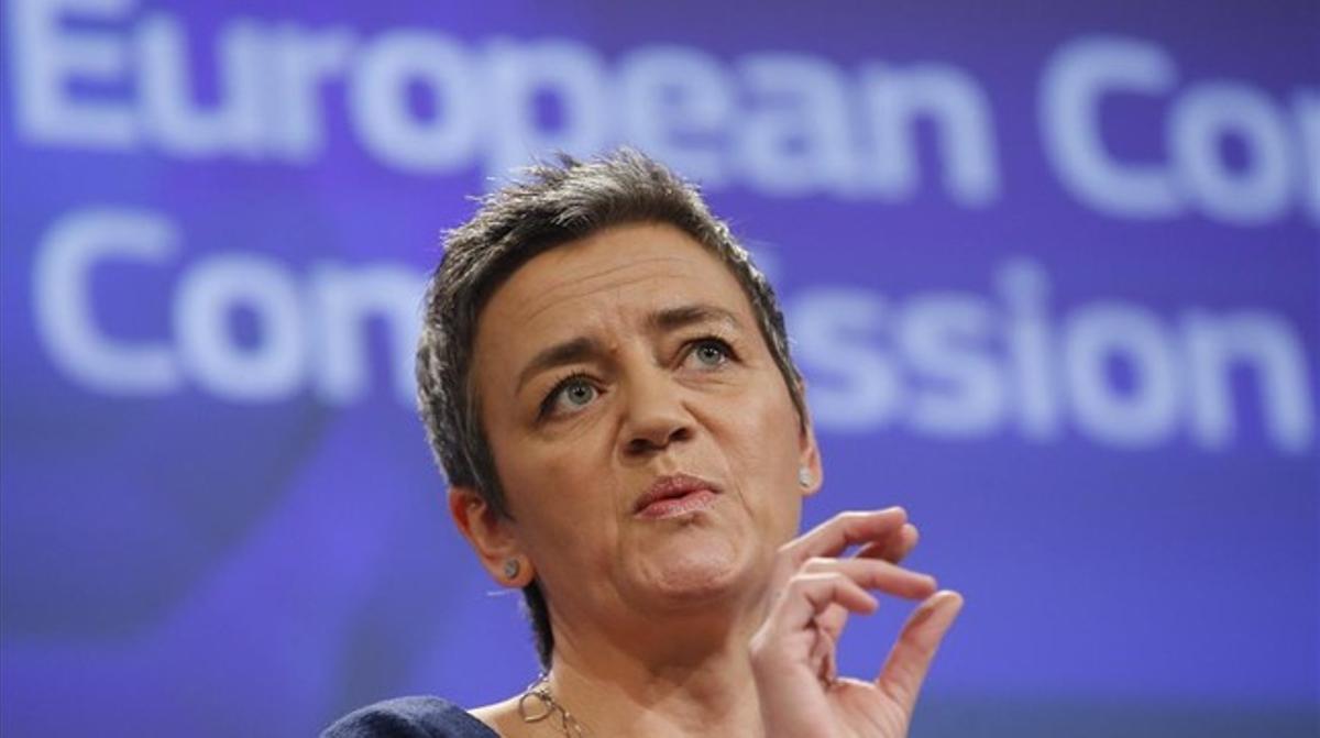 La comisaria europea de Competencia Margrethe Vestager en una rueda de prensa en Bruselas, Bélgica.