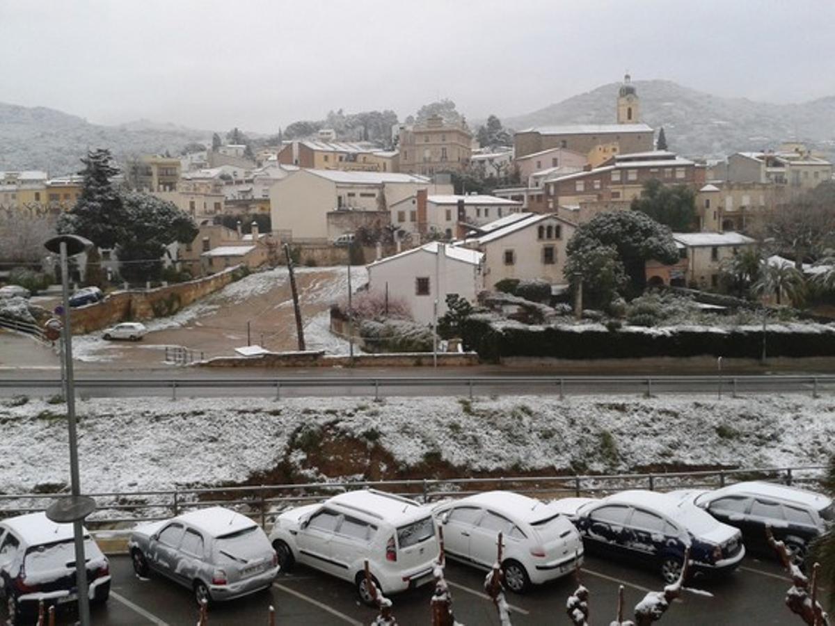 Nieve en Cabrils (Maresme), en una imagen de archivo.