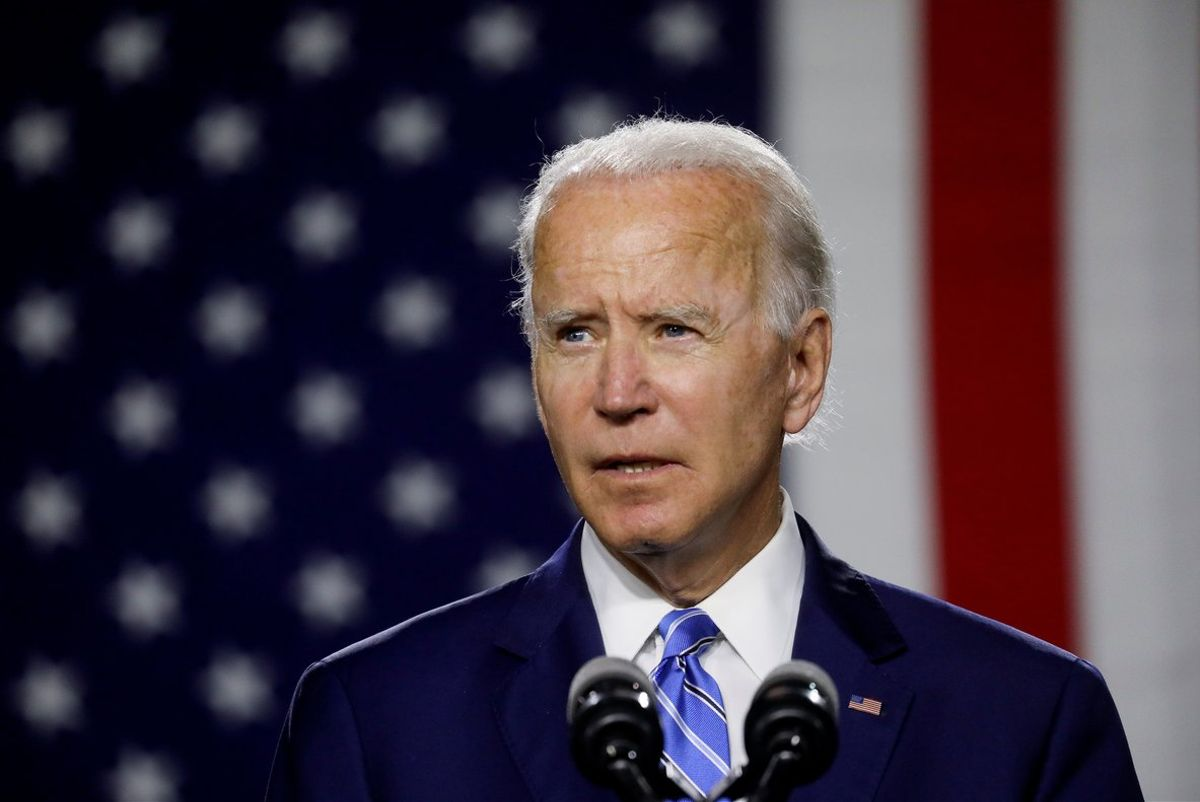 FILE PHOTO: Democratic U.S. presidential candidate and former Vice President Joe Biden arrives to speak about modernizing infrastructure and his plans for tackling climate change during a campaign event in Wilmington, Delaware, U.S., July 14, 2020. REUTERS/Leah Millis/File Photo