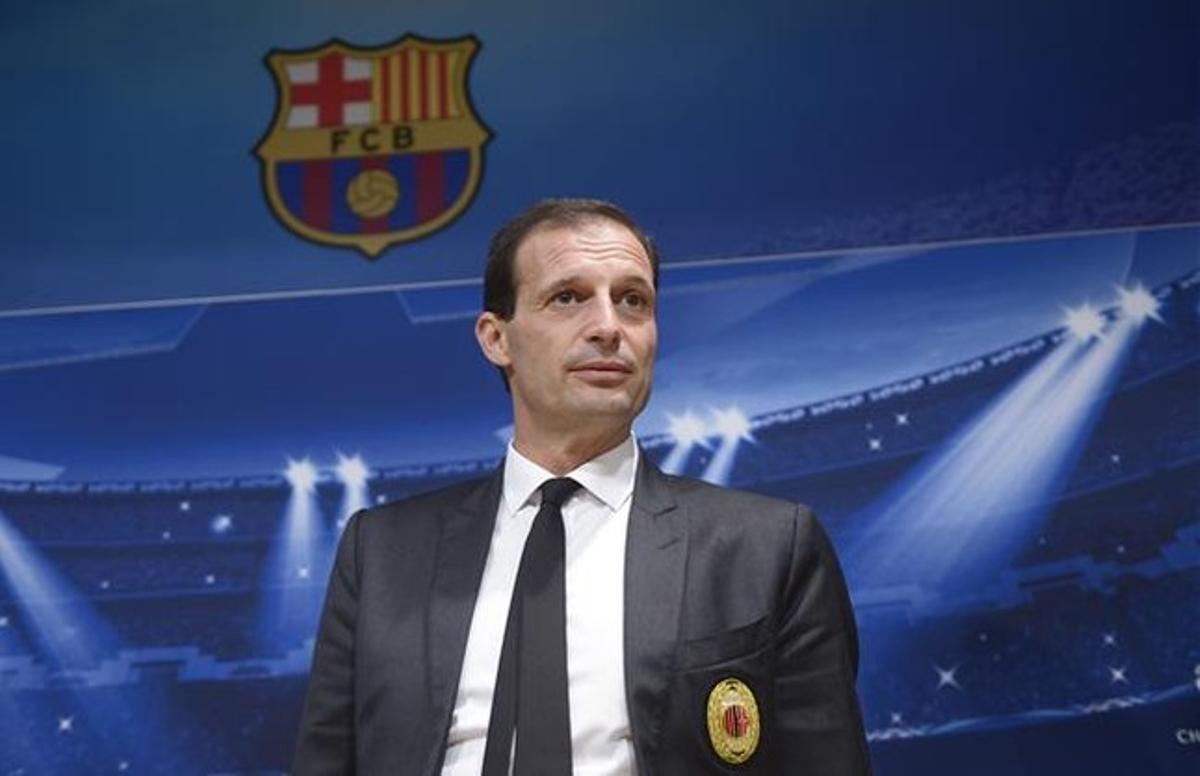 Massimiliano Allegri, en la sala de prensa del Camp Nou.