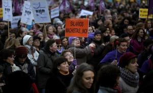 Manifestación para conmemorar el 8 de marzo, día internacional de la mujer, en Madrid.