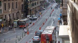 La Gran Vía de Barcelona el pasado 22 de septiembre, Día sin Coche.