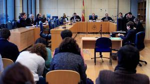 La Audiencia Nacional descarta terrorismo en la agresión de Alsasua. En la foto, vista de apelación de la sentencia del caso Alsasua, en la Audiencia Nacional, el miércoles.